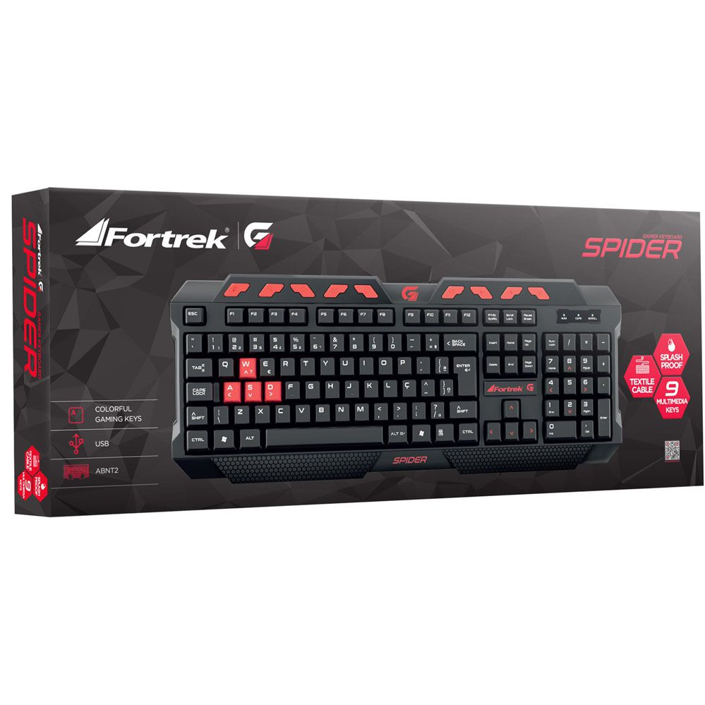 Teclado Gamer Multimídia SPIDER - FORTREK