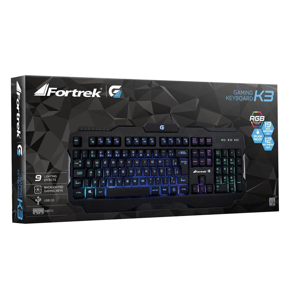 Teclado Gamer Pro K3 RGB Preto - FORTREK