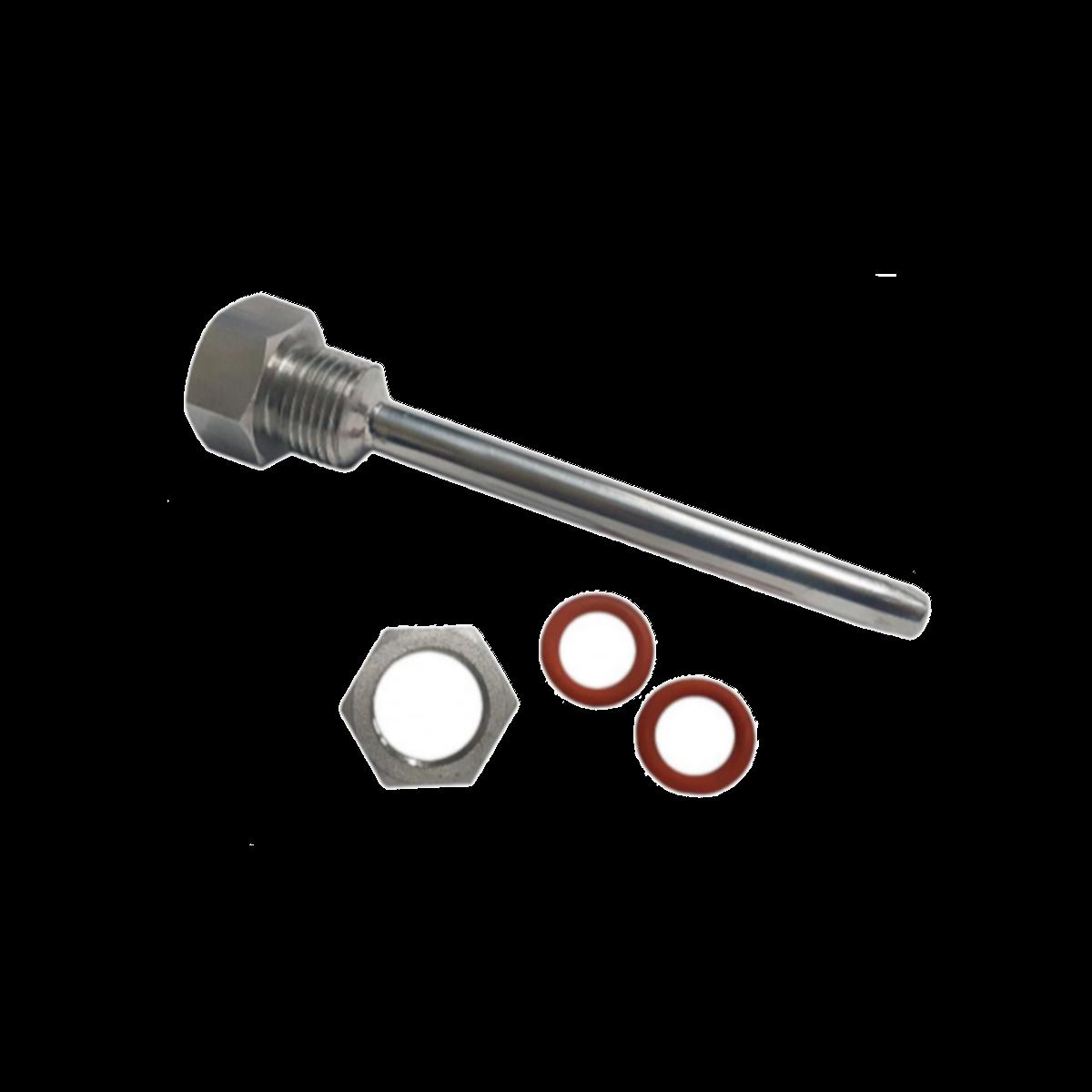 "Poço Termométrico 200mm Inox Completo - Rosca BSP 1/2"""