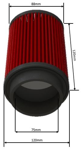 Filtro De Ar Alta Performance Duplo Fluxo Altura 120MM Linha FDL