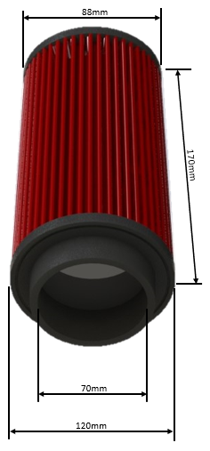 Filtro De Ar Alta Performance Duplo Fluxo Altura 170MM Linha FDL