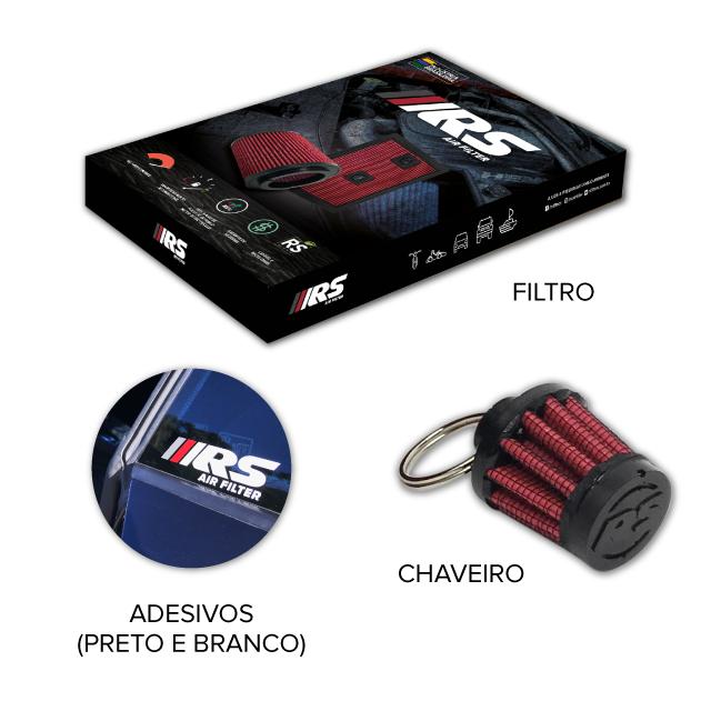 Kit com 2 Filtros De Ar Esportivo Cônico Duplo Fluxo Para FUSCA Carburação DUPLA