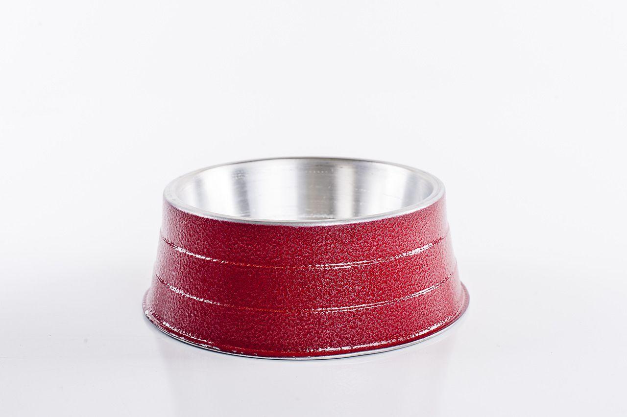 Comedouro alumínio pesado 1200ml Vermelho