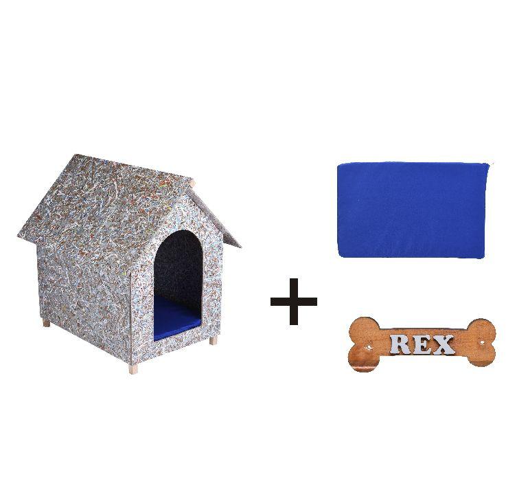 Kit Casinha Ecológica n. 01 com Colchonete Azul e placa de nome