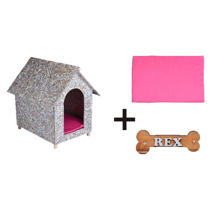 Kit Casinha Ecológica n. 02 com Colchonete Rosa e placa de nome