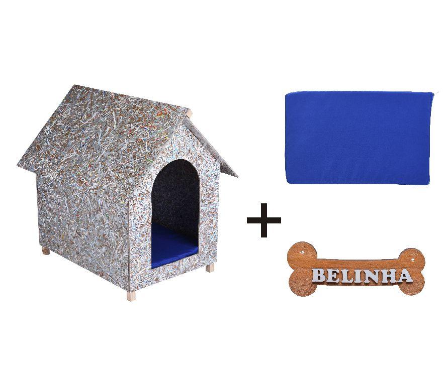 Kit Casinha Ecológica n. 04 com Colchonete Azul e placa de nome