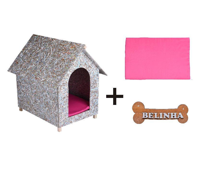 Kit Casinha Ecológica n. 04 com Colchonete Rosa e placa de nome