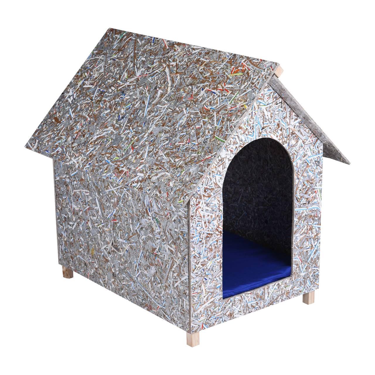 Kit Casinha Ecológica n. 06 com Colchonete Azul e placa de nome