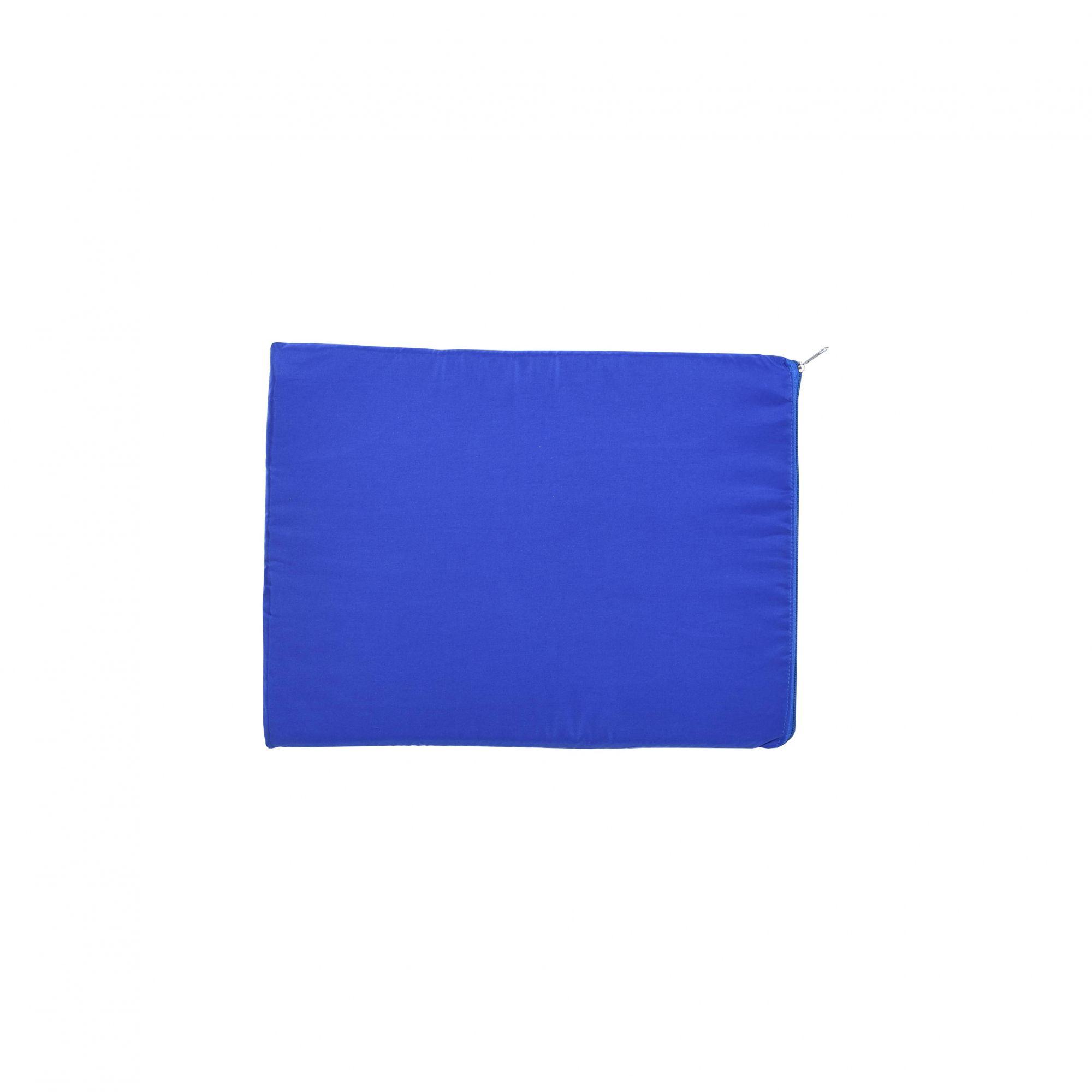 Kit Casinha Madeira 01 com Colchonete Azul e placa de nome