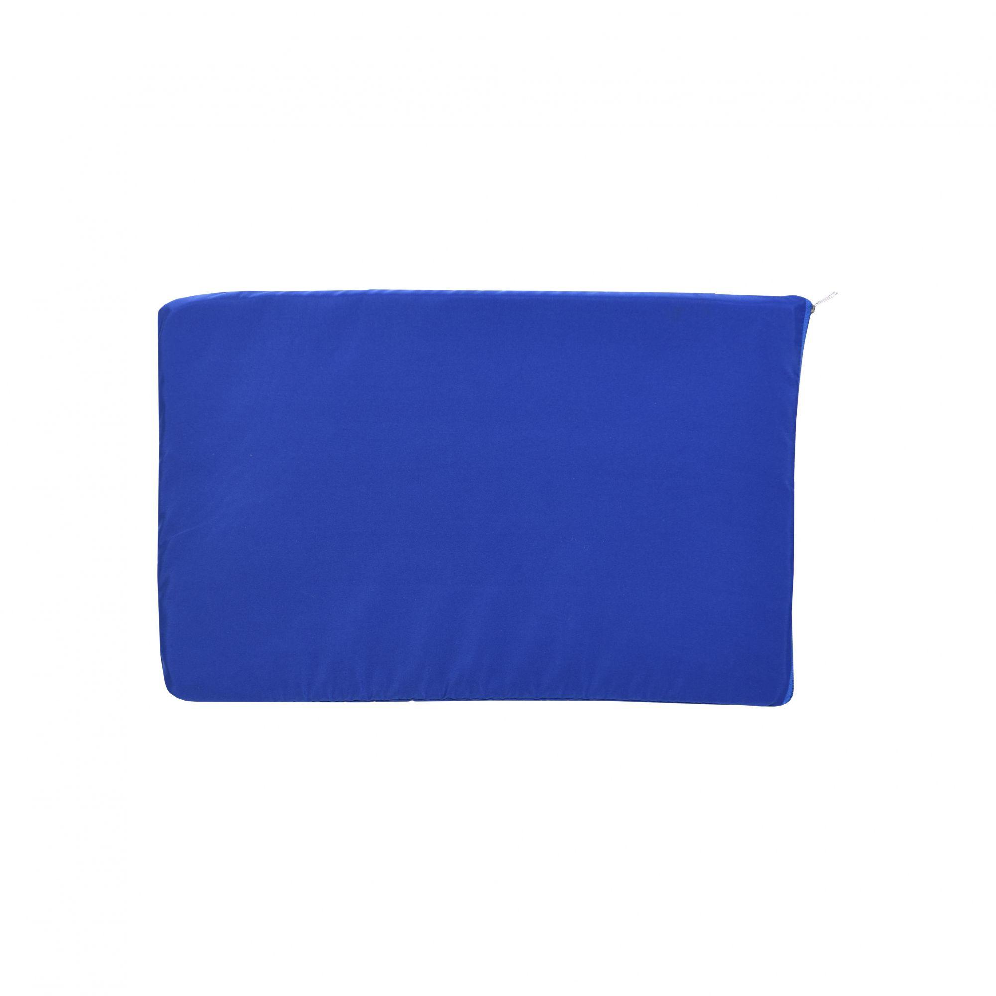 Kit Casinha Madeira 03 com Colchonete Azul e placa de nome