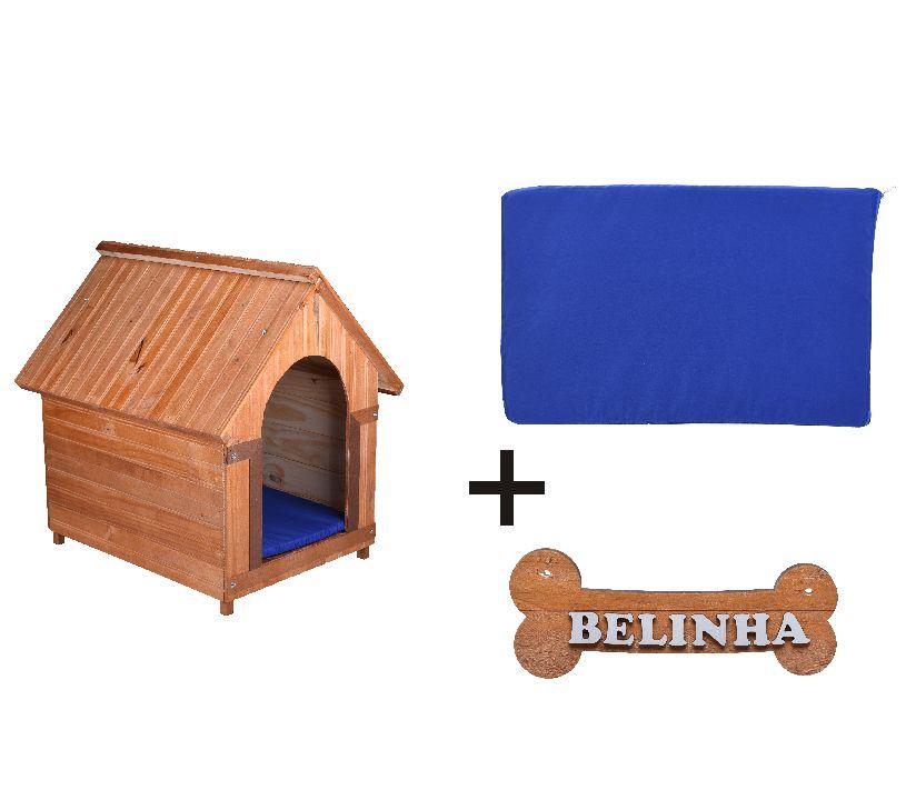 Kit Casinha Madeira 04 com Colchonete Azul e placa de nome