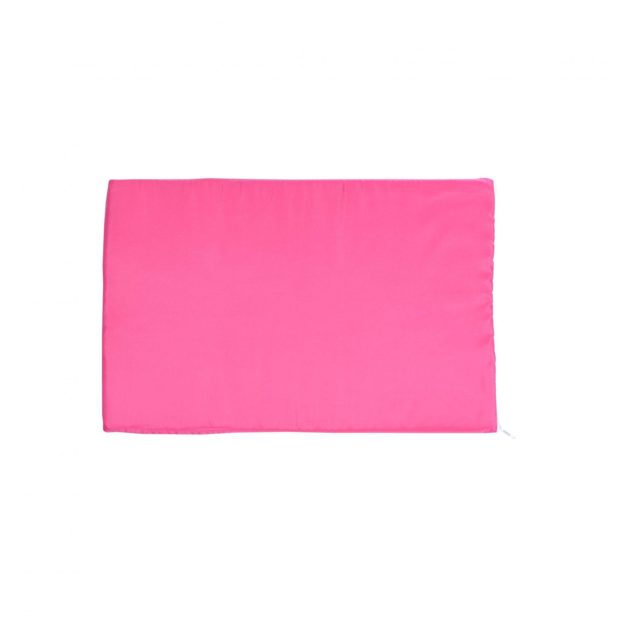 Kit Casinha Madeira 04 com Colchonete Rosa e placa de nome