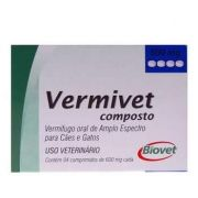 Vermífugo Vermivet Composto 600mg Biovet 4 comprimidos