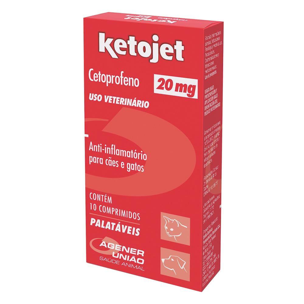 Anti-Inflamatório Ketojet 20mg Agener União 10 Comprimidos  - Brasília Pet