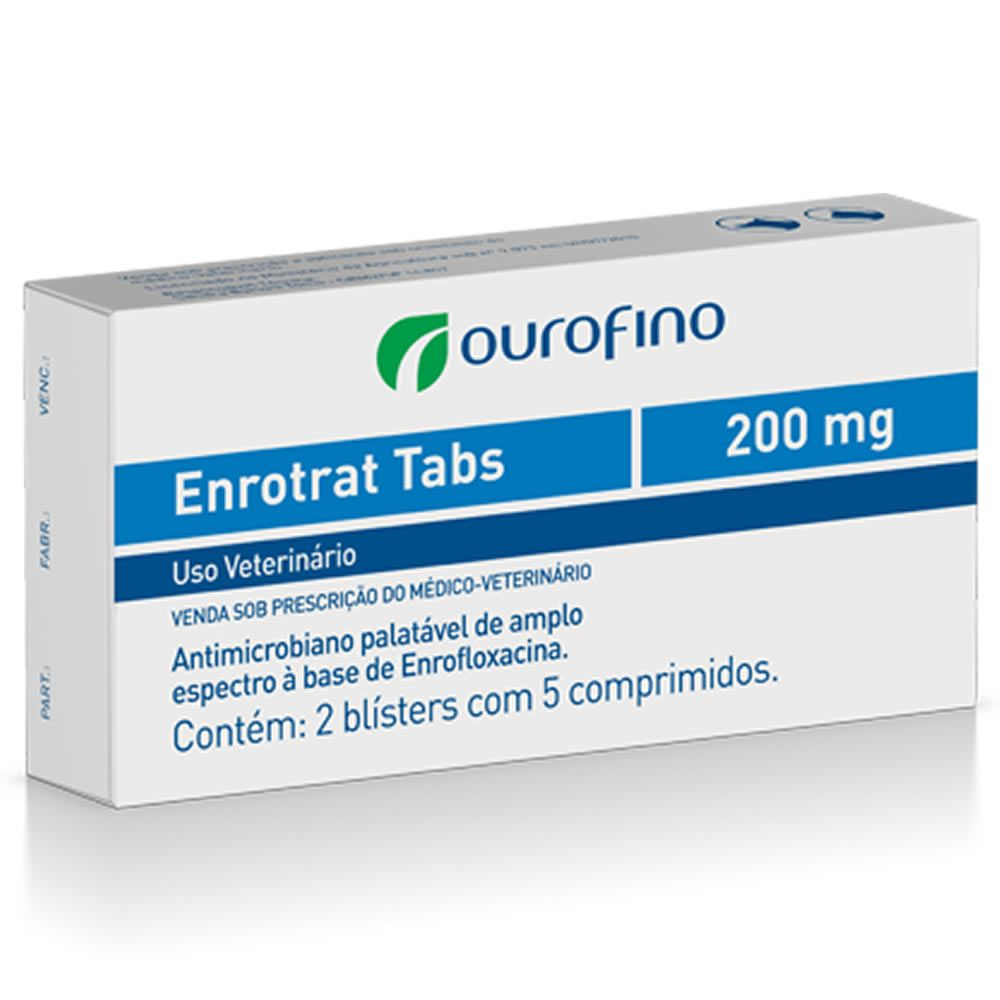 Antibiótico Enrotrat Tabs Ouro Fino 200mg  - Brasília Pet