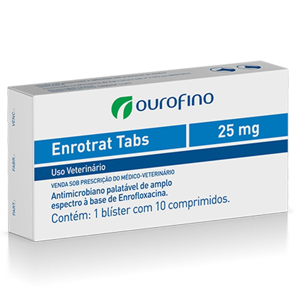 Antibiótico Enrotrat Tabs Ouro Fino 25mg  - Brasília Pet