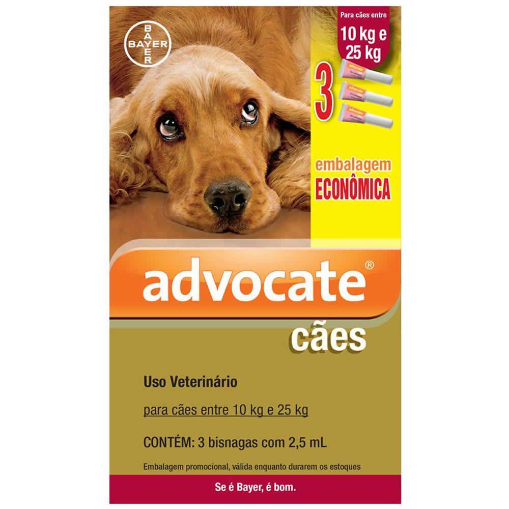 Antipulgas Advocate Cães de 10 a 25kg Combo 3Un  - Brasília Pet