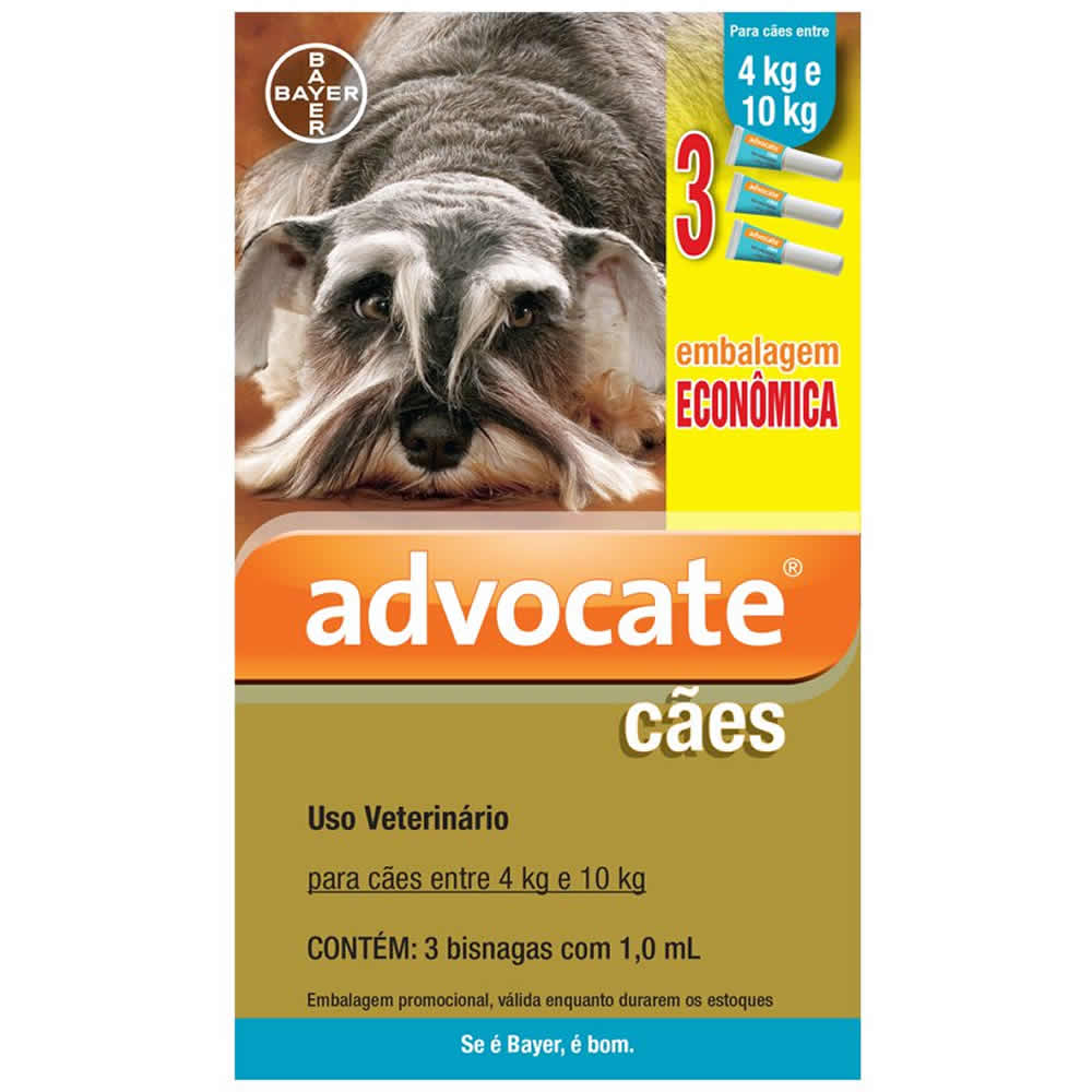 Antipulgas Advocate Cães de 4 a 10kg Combo   - Brasília Pet