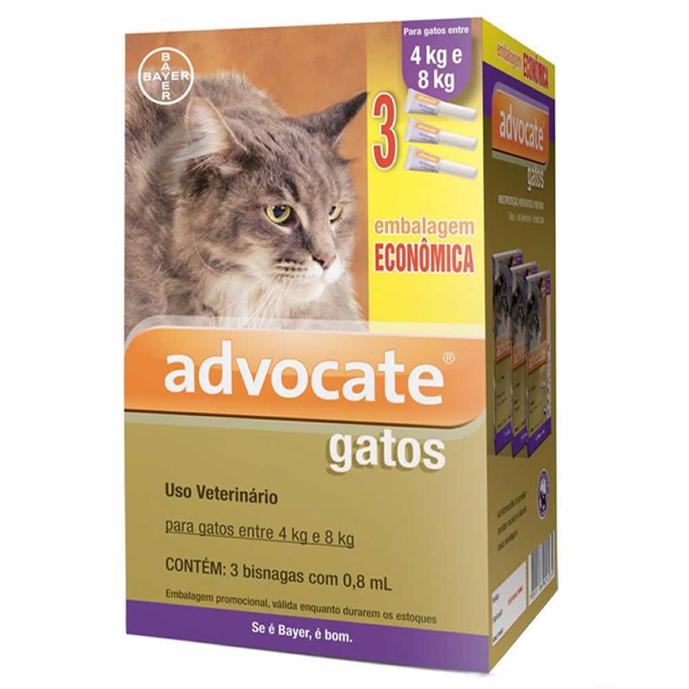 Antipulgas Advocate Gatos 4 a 8kg Combo 3Un  - Brasília Pet