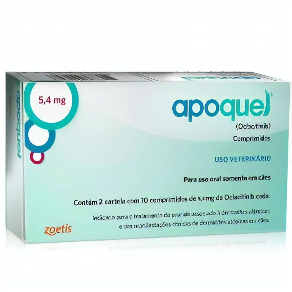 Apoquel Dermatólogico Zoetis 5,4mg 20 Comprimidos  - Brasília Pet