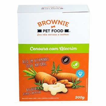 Biscoito Natural Brownie Cenoura com Alecrim 200g  - Brasília Pet