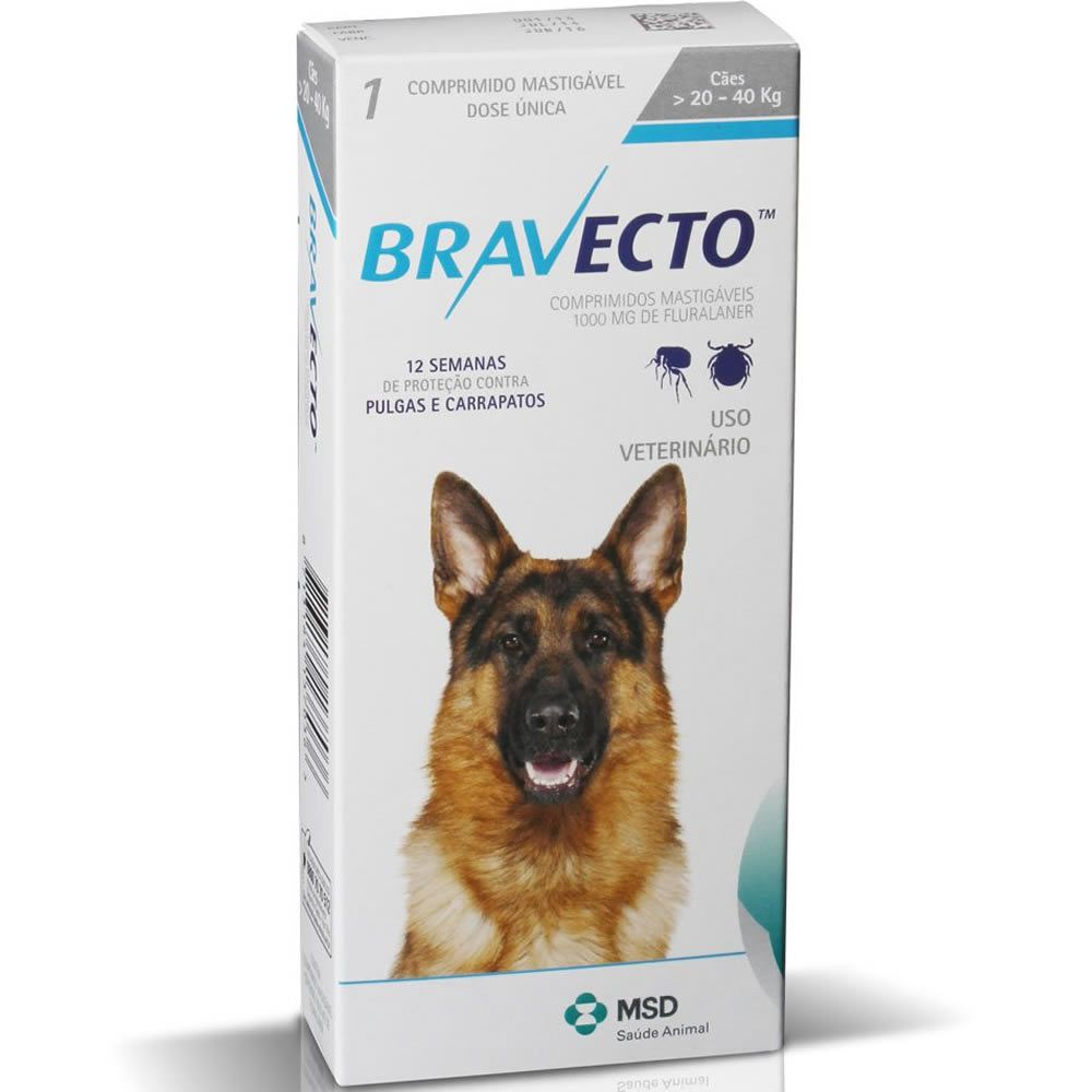 Bravecto Cães Comprimidos 20 a 40kg  - Brasília Pet