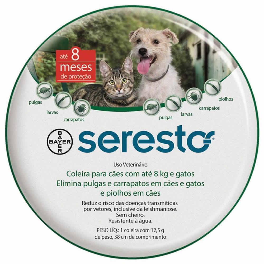 Coleira Antipulgas e Carrapatos Seresto até 8kg  - Brasília Pet