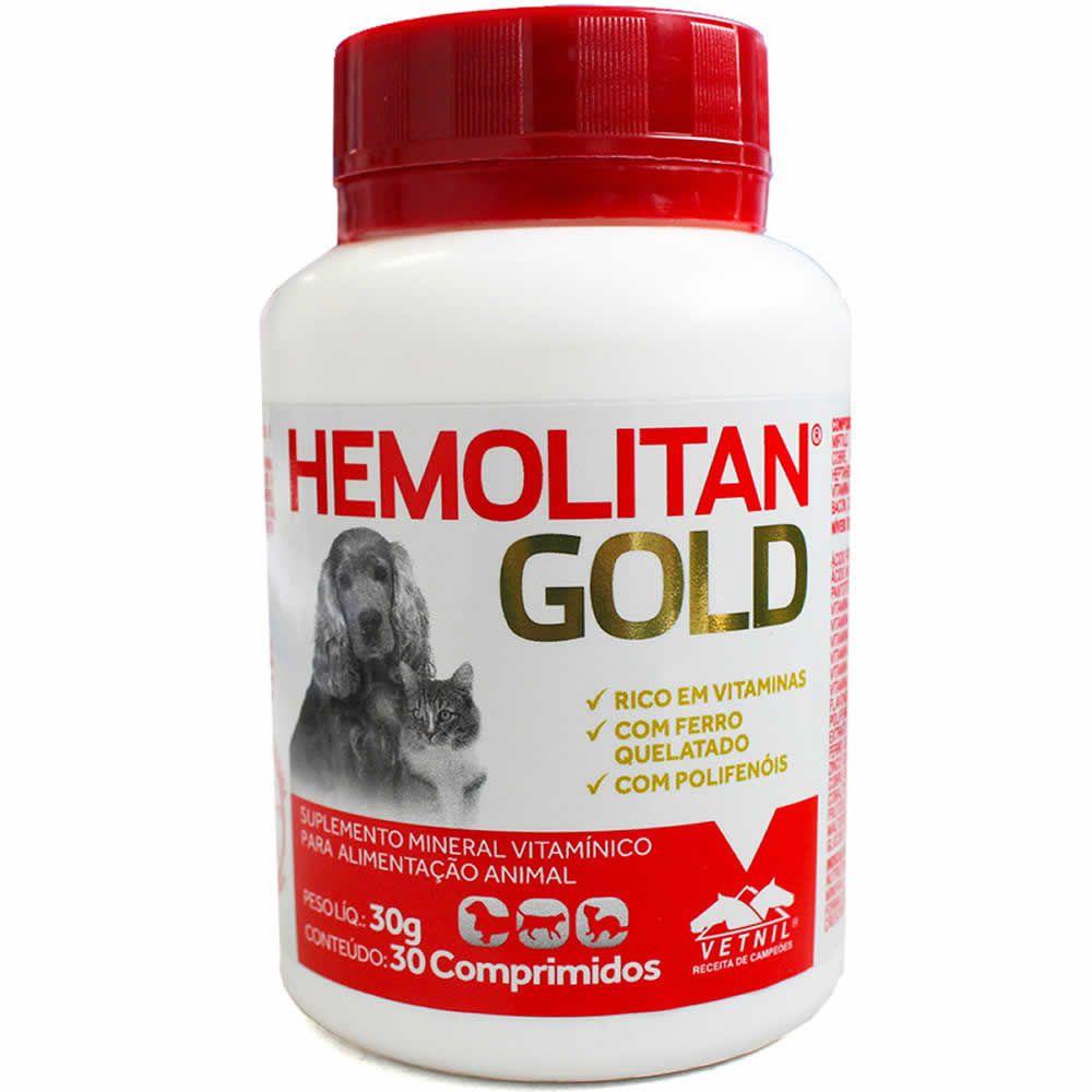 Hemolitan Gold 30 Comprimidos  - Brasília Pet