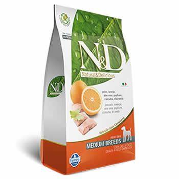 N&D Medium Adult Peixe e Laranja Livre de Cereais  - Brasília Pet
