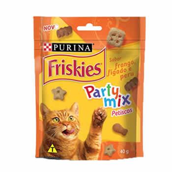 Petisco Friskies Party Mix Frango Fígado e Peru 40g  - Brasília Pet