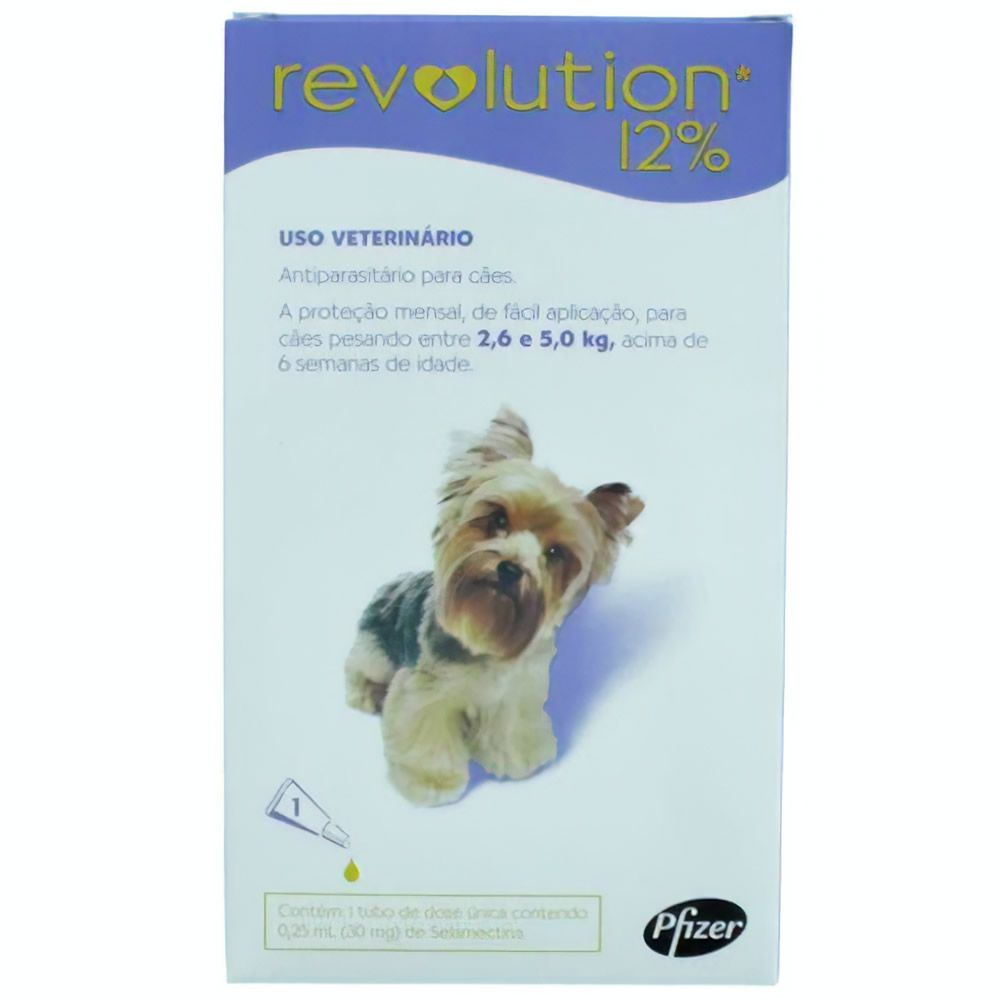 Revolution 12% para Cães de 2,6 - 5(Kg) 0,25ml  - Brasília Pet