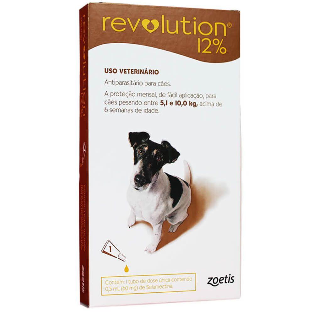 Revolution 12% para Cães de 5,1 - 10(Kg) 0,50ml  - Brasília Pet