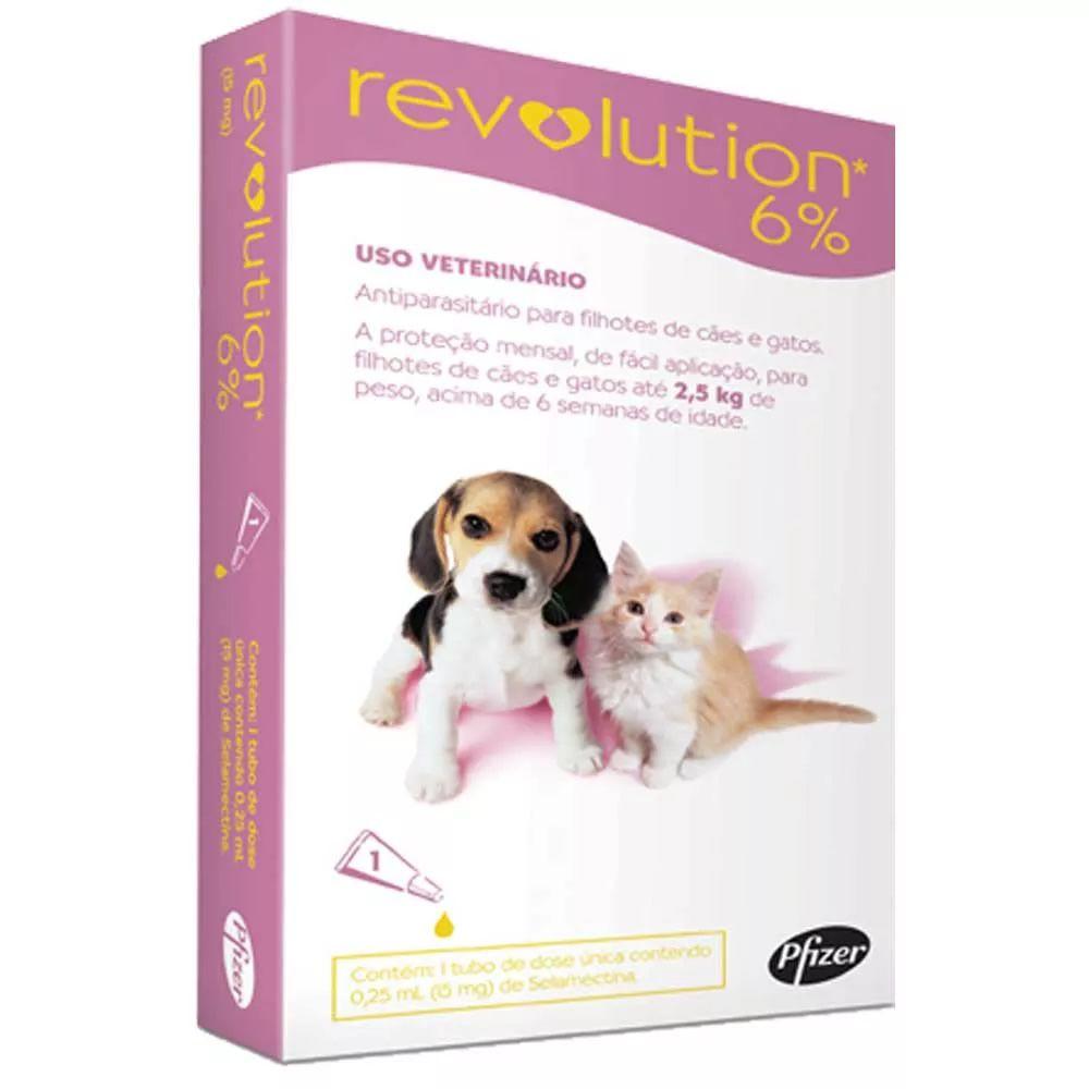 Revolution 6% 0,25ml para Filhotes de Cães e Gatos até 2,5Kg   - Brasília Pet