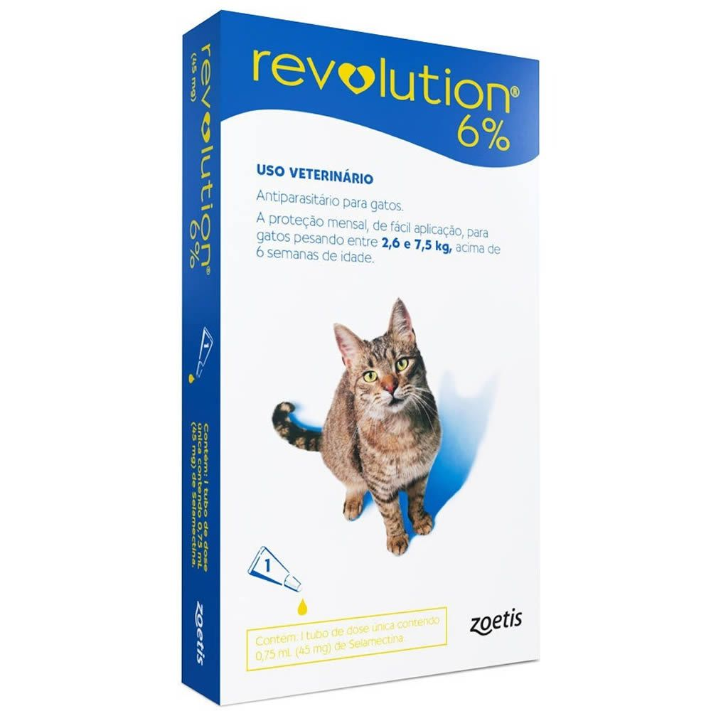 Revolution 6% 0.75ml para Gatos 2,6 - 7,5(Kg)  - Brasília Pet