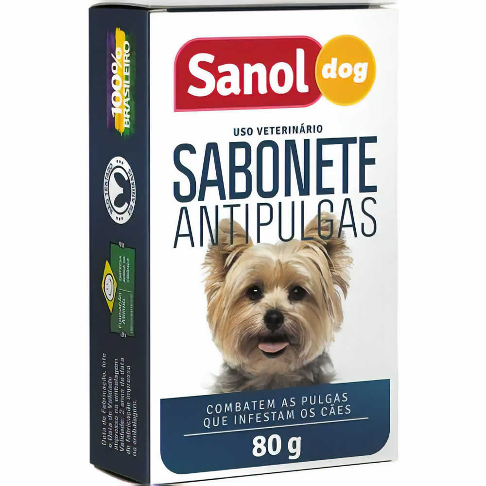 Sabonete Antipulgas Sanol Dog 80g  - Brasília Pet