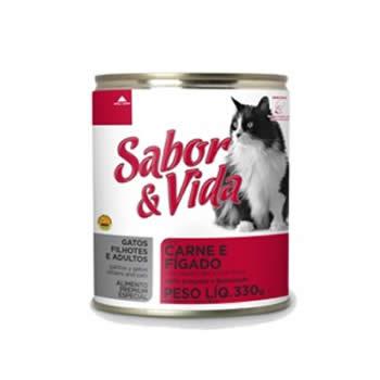 Sabor & Vida Gatos Carne/Fígado Lata 290g  - Brasília Pet