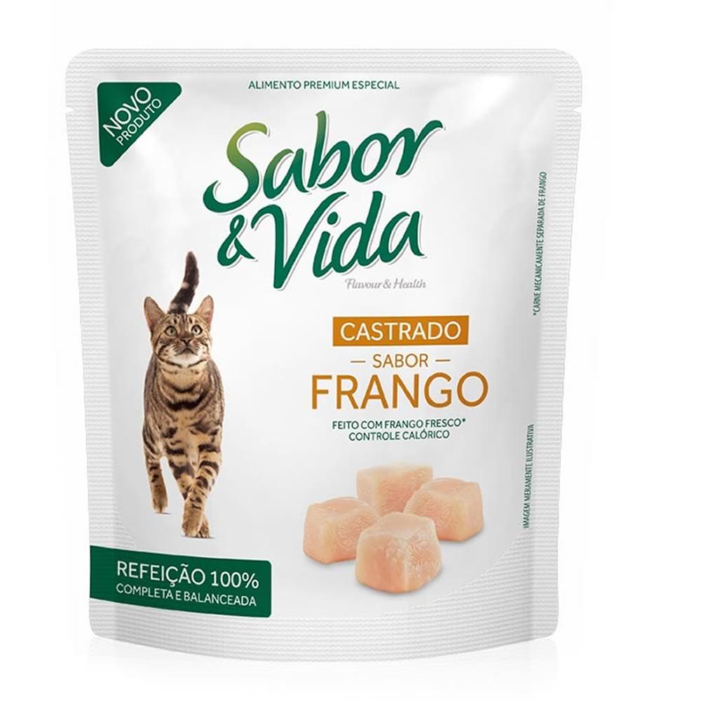 Sabor & Vida Gatos Castrados Frango Sachê  - Brasília Pet