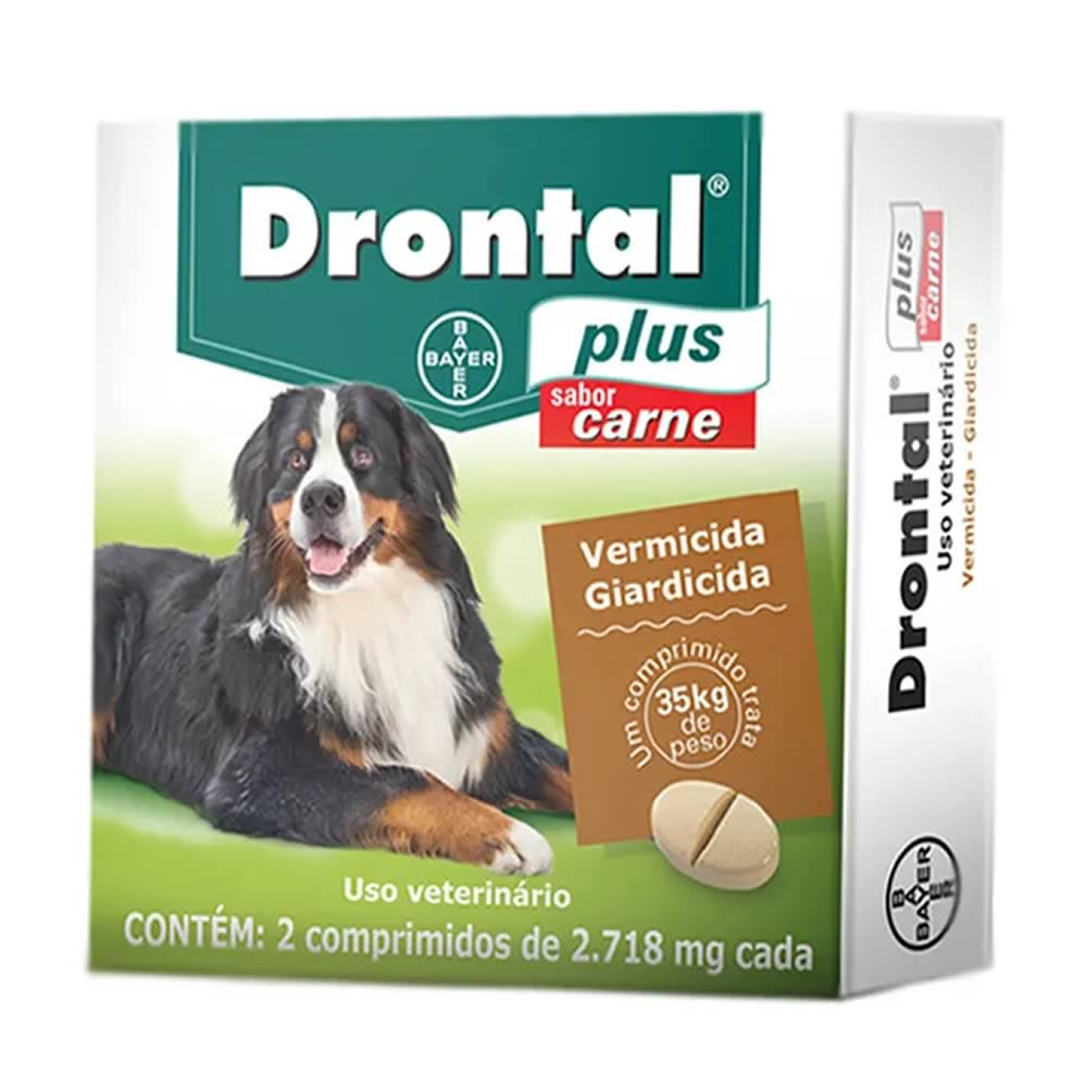 Vermífugo Drontal Plus Carne Cães Grandes 02 Comprimidos  - Brasília Pet