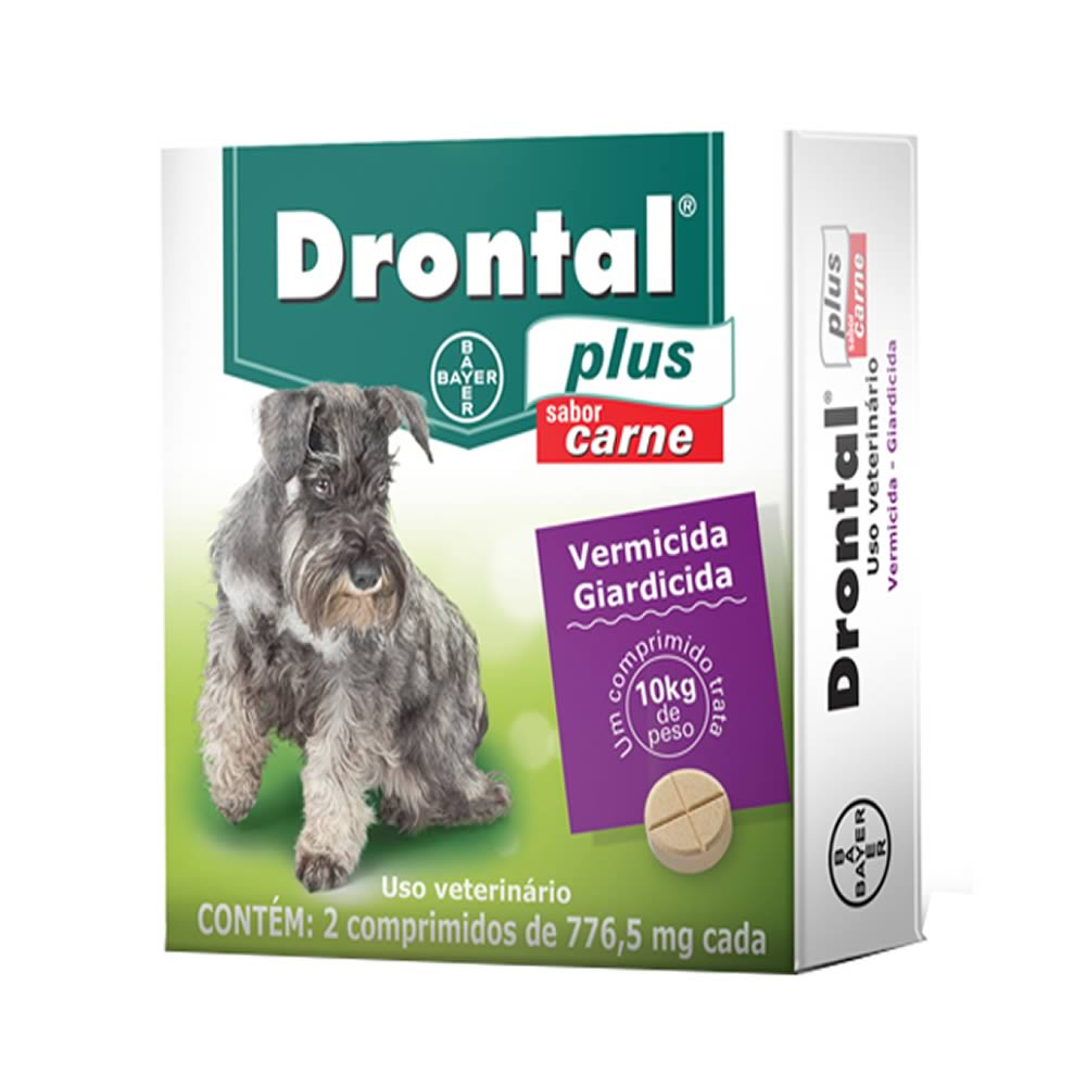 Vermífugo Drontal Plus Carne Cães Pequenos 02 Comprimidos  - Brasília Pet