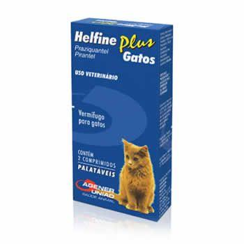 Vermífugo Helfine Plus Gatos Agener União 2 Comprimidos  - Brasília Pet