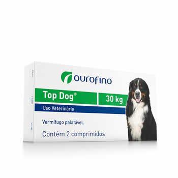 Vermífugo Top Dog Ouro Fino 30kg 2 Comprimidos  - Brasília Pet