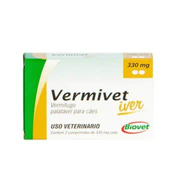 Vermífugo Vermivet Iver 330mg Biovet 2 comprimidos  - Brasília Pet