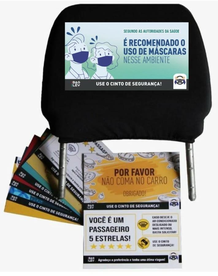 1 Capa Universal Touca para Cabeceira de Banco Carro + 1 Kit  Card com 20 Informativos - Bag Lev