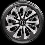 Calota Esportiva Aro 13 Elitte Universal Preto Com Prata Linha Velox E3704