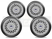 Calota Esportiva Jogo 4Pçs  BBS Prata Ford Fiesta ká Aro 14 G601ptaj