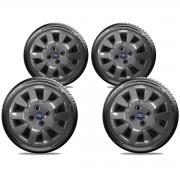Calota Grafite Jogo 4Pçs Ford Novo Ka New Fiesta Aro 14 G343Gftj