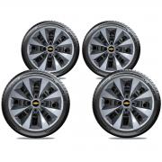 Calota Prata Com Grafite Jogo 4Pçs Chevrolet Celta Corsa Prisma Aro 14 G112Ptgj