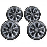 Calota Prata Com Grafite Jogo 4Pçs Volkswagen Gol Até G5 Aro 14 G112Ptgj