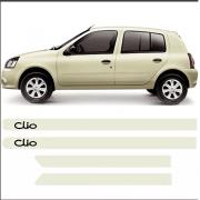 Friso Lateral Personalizado Para Renault Clio Branco Creme