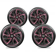 Jogo Calota Elitte Pink Aro 14 Volks Fox Polo Gol E4115j